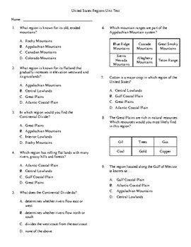 4th Grade United States Geography Unit Test by Kimberly ...