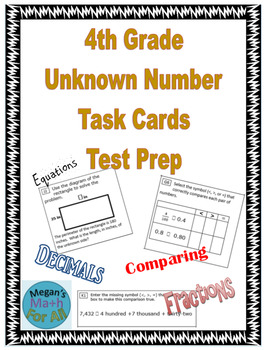 4th Grade Unknown Number Task Cards Test Prep - Editable