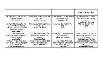 4th Grade VA Studies Civil War and Reconstruction Bingo