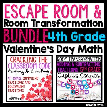 4th Grade Valentine's Day Room Transformation and Escape Room Bundle