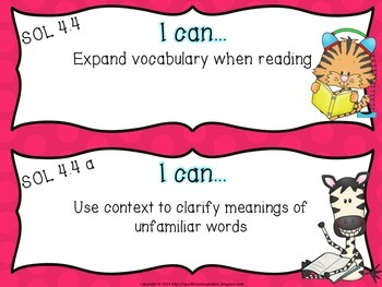 """4th Grade Virginia """"I Can"""" cards- Reading & Writing"""