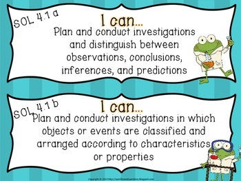 """4th Grade Virginia """"I Can"""" cards- Science"""