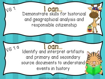 "4th Grade Virginia ""I Can"" cards- Virginia Studies"