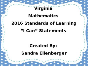 "4th Grade-Virginia Math SOL-""I Can"" Statements-2016"
