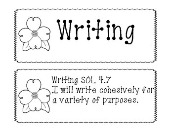 "4th Grade Virginia SOL ""I will"" English Objectives B&W"