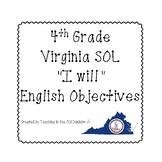 "4th Grade Virginia SOL ""I will"" 2010 English Objectives B&W"