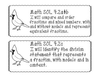 "4th Grade Virginia SOL ""I will"" 2016 Math Objectives B&W"