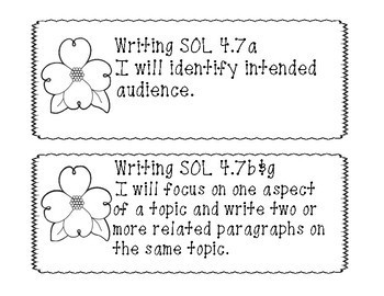 "4th Grade Virginia SOL ""I will"" Objectives B&W Set"