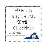 "4th Grade Virginia SOL ""I will"" Objectives B&W Set BUNDLE 2010-2017"
