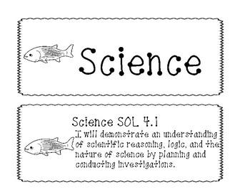 "4th Grade Virginia SOL ""I will"" 2010 Science Objectives B&W"