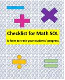 4th Grade Virginia Updated 2016 Standards SOL Math Checklist