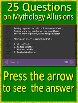 4th Grade Virginia SOL Reading Test Prep Greek Mythology Allusions Review Game