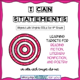 "4th Grade Virginia SOLs ""I Can"" Statements for Reading Fic"