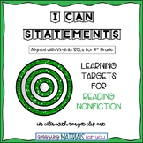 "4th Grade Virginia SOLs ""I Can"" Statements for Reading Nonfiction"