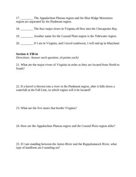 4th Grade Virginia Studies Borders, Rivers, and Regions Test