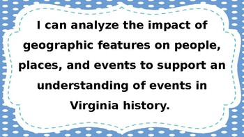 """4th Grade-Virginia Studies-""""I Can"""" Statements-2015"""