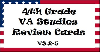4th Grade Virginia Studies SOL Review Cards (3 sets!) - Up
