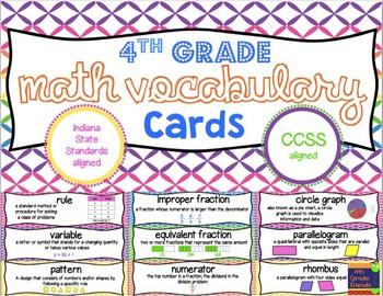 4th Grade Vocabulary Cards Bundle
