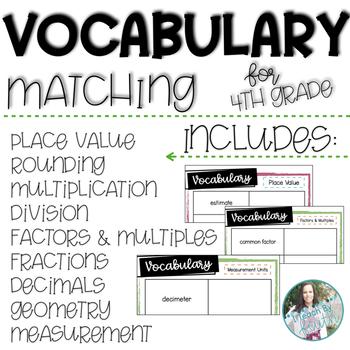 4th Grade Vocabulary Matching