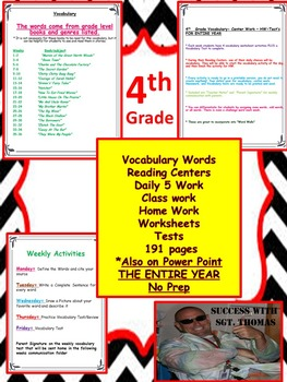 4th Grade Vocabulary, Power Point, Center Work, HW, Tests, Word Wall, No Prep