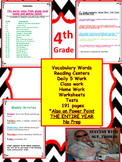 4th Grade Vocabulary, Power Point, Center Work, HW, Tests,