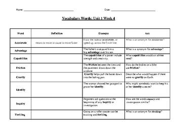 4th Grade Vocabulary Unit 1 Week 4