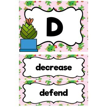 4th Grade Vocabulary Word Wall-Cactus Theme