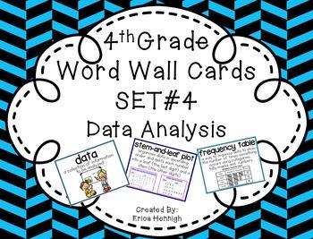 4th Grade Vocabulary Word Wall Cards Set 4:  Data Analysis