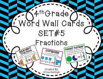 4th Grade Vocabulary Word Wall Cards Set 5:  Fractions TEKS
