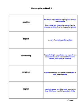 4th Grade Vocabulary for Success: Memory Game