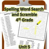 4th Grade WONDERS Spelling Word Search and Scramble -- Unit 5 (Differentiated)