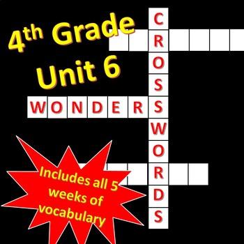 4th Grade WONDERS Unit 6 Vocabulary Crossword