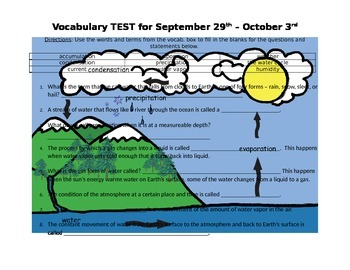 4th Grade Water Cycle Vocab Study Guide & Test