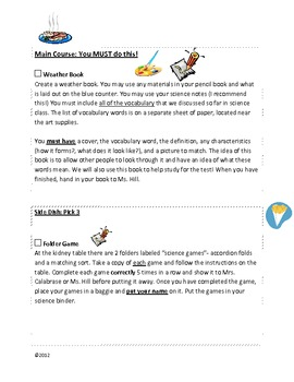 4th Grade Weather Unit Learning Menu
