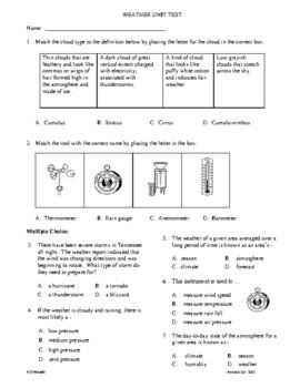 4th Grade Weather Unit Test
