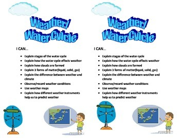 4th Grade Weather Water Cylce Learning Targets I CAN Statements