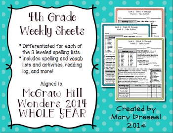 4th Grade Weekly ELA Sheets BUNDLE - Aligned to Wonders series