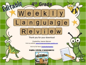 4th Grade Weekly Language Review Editable