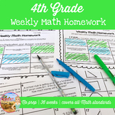 4th Grade Weekly Math Homework Bundle