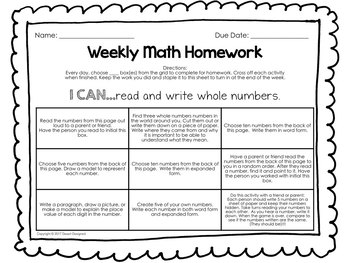 4th Grade Weekly Math Homework Bundle