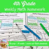 4th Grade Weekly Math Homework All Year