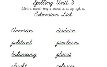 4th Grade Weekly Spelling Extension Lists