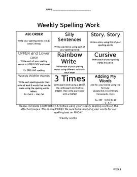 4th Grade Weekly Spelling Menu (36 Weeks)
