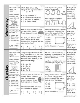 4th Grade: Weekly Test Prep #2 (Daily Practice & Assessment)