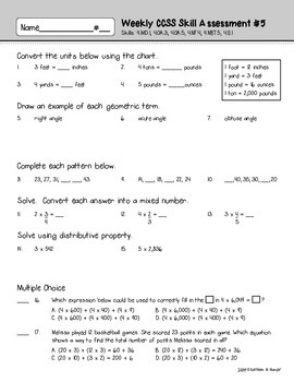 4th Grade: Weekly Test Prep #5 (Daily Practice & Assessment)