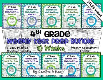 4th Grade: Weekly Test Prep BUNDLE (10 Weeks of Daily Practice & Assessment)