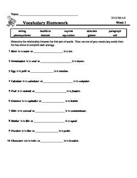 4th Grade Weekly Vocabulary - Week 1