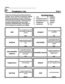 4th Grade Weekly Vocabulary  - Week 4