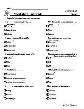 4th Grade Weekly Vocabulary - Week 6