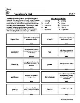 4th Grade Weekly Vocabulary - Week 7